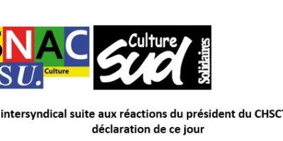Communiqué intersyndical suite aux réactions du président du CHSCT-AC après notre déclaration de ce jour