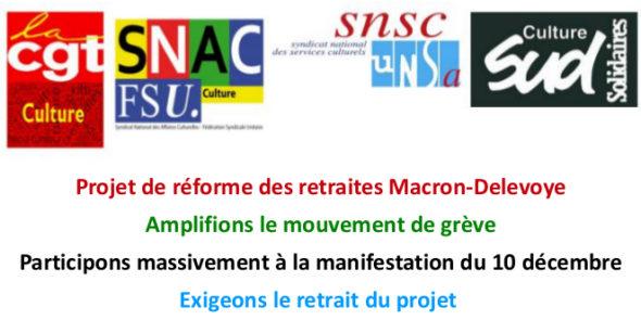 Retrait du projet de réforme des retraites Macron-Delevoye /Amplifions le mouvement de grève / Participons massivement à la manifestation du 10 décembre
