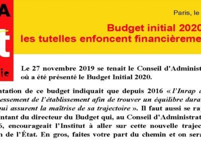 INRAP – Budget Initial 2020 : les tutelles enfoncent financièrement l'Institut