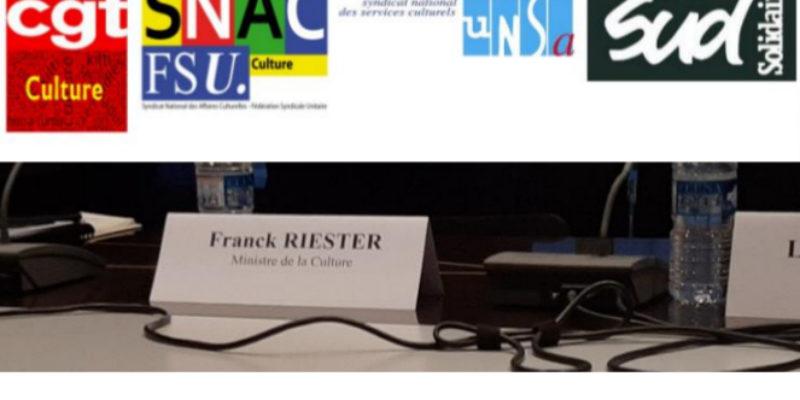 L'intersyndicale CGT, FSU, SUD et UNSA Culture rencontre le ministre