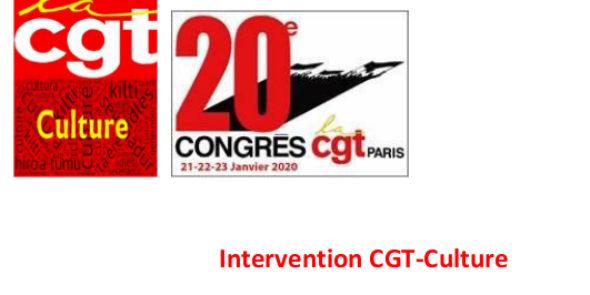 Intervention CGT-Culture au 20éme congrès de l'UD CGT PARIS