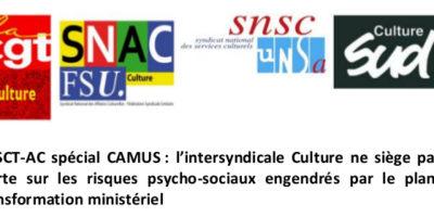 CHSCT-AC spécial CAMUS : l'intersyndicale Culture ne siège pas et alerte sur les risques psycho-sociaux engendrés par le plan de transformation ministériel