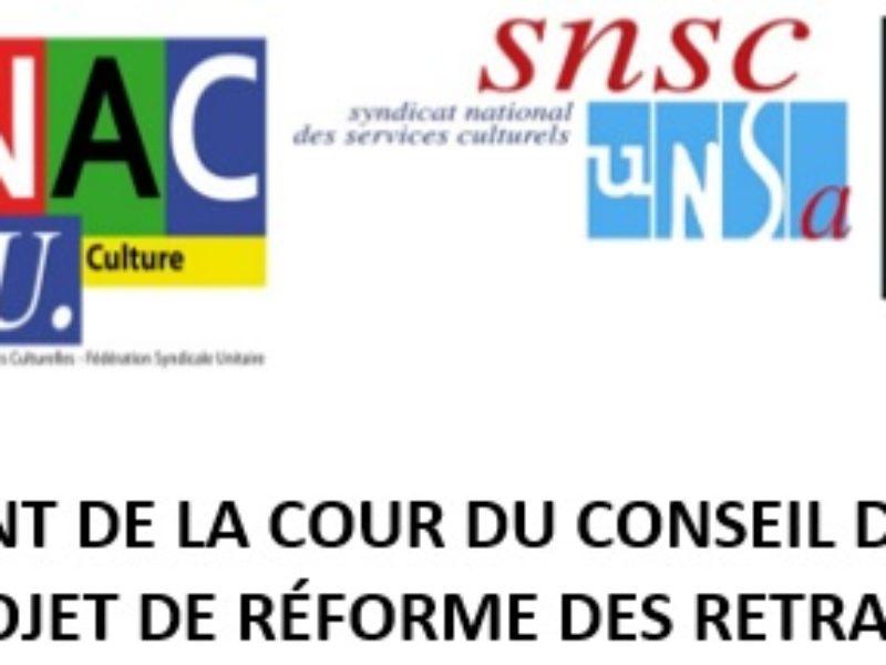 Communiqué de presse intersyndical Culture : Envahissement de la cour du Conseil d'État contre le projet de réforme des retraites