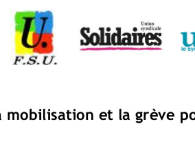 Communiqué unitaire : Amplifier la mobilisation et la grève pour gagner !