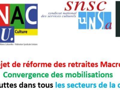 Projet de réforme des retraites Macron : convergence des mobilisations et des luttes dans tous les secteurs de la culture