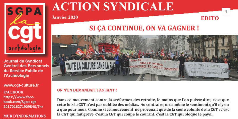 Archéo – ACTION SYNDICALE janvier 2020 – Si ça continue, on va gagner !