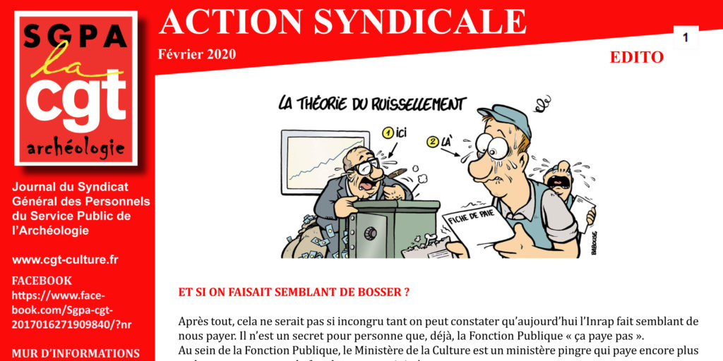 ARCHEO – ACTION SYNDICALE FÉVRIER 2020