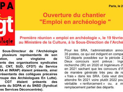 """Archéo – Ouverture du chantier """"Emploi en archéologie """""""
