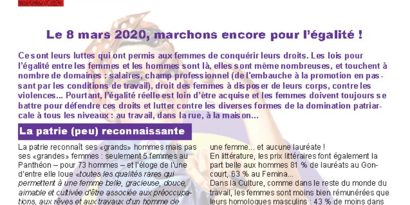 Le 8 mars 2020, marchons encore pour l'égalité !