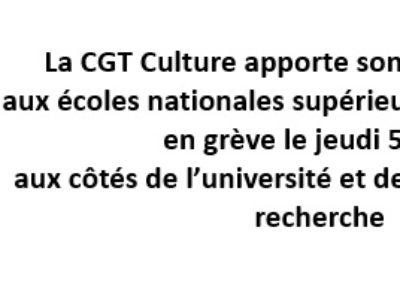 La CGT Culture apporte son entier soutien aux écoles nationales supérieures d'architecture en grève le jeudi 5 mars aux côtés de l'université et des laboratoires de recherche