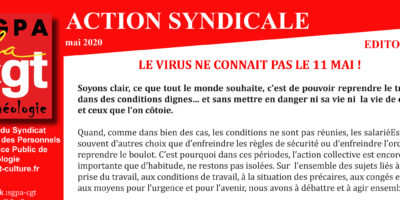 ARCHEOLOGIE – ACTION SYNDICALE MAI 2020