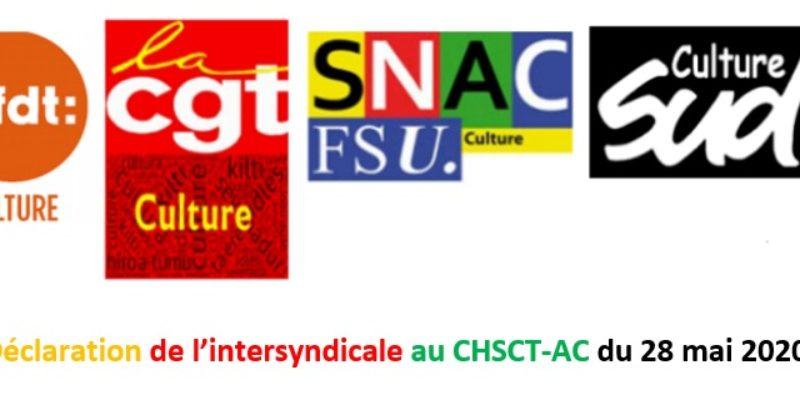 Déclaration de l'intersyndicale au CHSCT-AC du 28 mai 2020