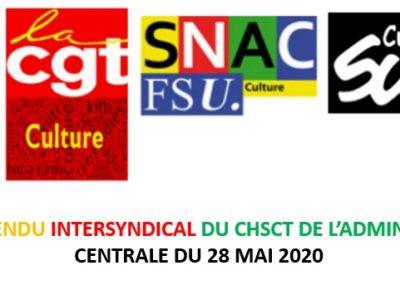 Compte-rendu intersyndical du CHSCT de l'administration centrale du 28 mai 2020
