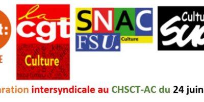 Déclaration de l'intersyndicale au CHSCT-AC du 24 juin 2020