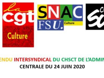 Compte-rendu intersyndical du CHSCT de l'administration centrale du 24 juin 2020