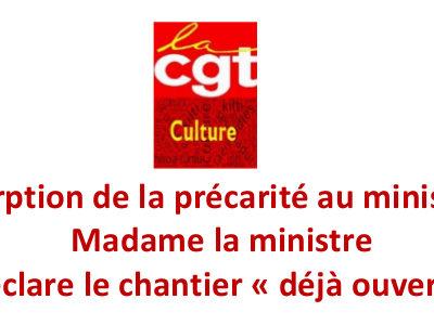 Résorption de la précarité au ministère : Madame la ministre déclare le chantier « déjà ouvert »