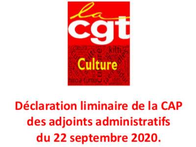 Déclaration liminaire de la CAP des adjoints administratifs du 22 septembre 2020.