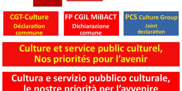 CGT/CGIL/PCS : Culture et service public culturel, nos priorités pour la démocratie et l'avenir