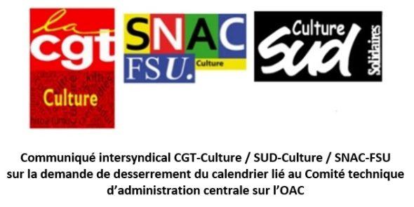 Communiqué CGT / SUD / FSU sur la demande de desserrement du calendrier lié au Comité technique d'administration centrale sur l'OAC