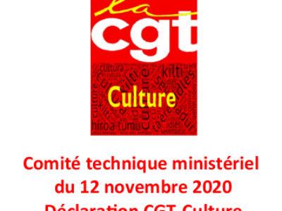 Comité technique ministériel du 12 novembre 2020 – Déclaration CGT-Culture