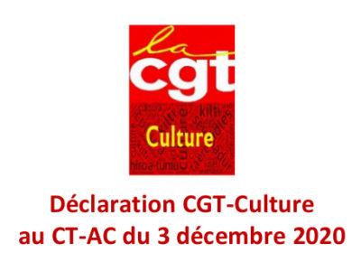 Déclaration CGT-Culture au CT-AC du 3 décembre 2020