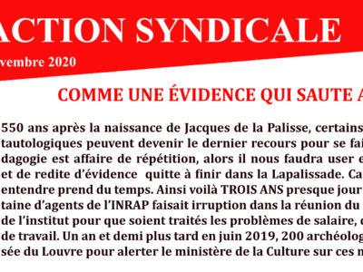 Inrap – Action Syndicale novembre 2020