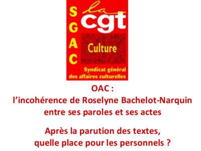 OAC : l'incohérence de Roselyne Bachelot-Narquin entre ses paroles et ses actes