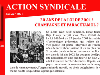 ARCHEO – ACTION SYNDICALE JANVIER 2021