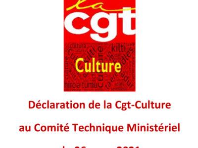 Déclaration de la Cgt-Culture au Comité Technique Ministériel du 26 mars 2021