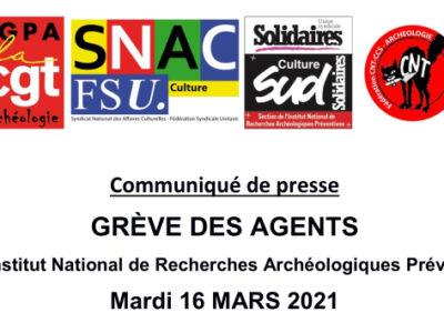 16 Mars 2021 : Grève des agents de l'INRAP