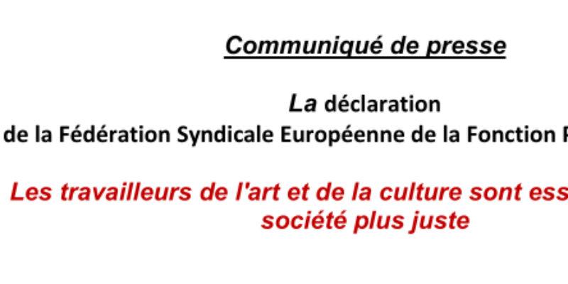 La déclaration de la FSEFP : Les travailleurs de l'art et de la culture sont essentiels à une société plus juste