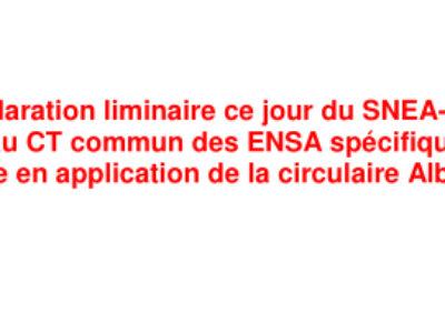 Déclaration liminaire du SNEA-CGT au CT commun des ENSA spécifique « mise en application de la circulaire Albanel » du 12 avril 2021