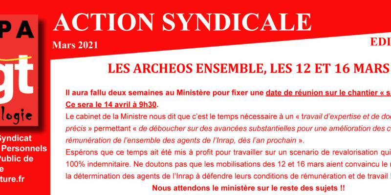 Archeo – Action syndicale Mars 2021