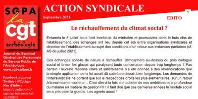 Action Syndicale – Septembre 2021 – Le réchauffement du climat social ?